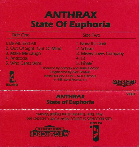 Anthrax: State of Euphoria promo cassette cover