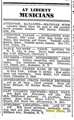 Robert Filane, Billboard classified ad, May 27, 1944