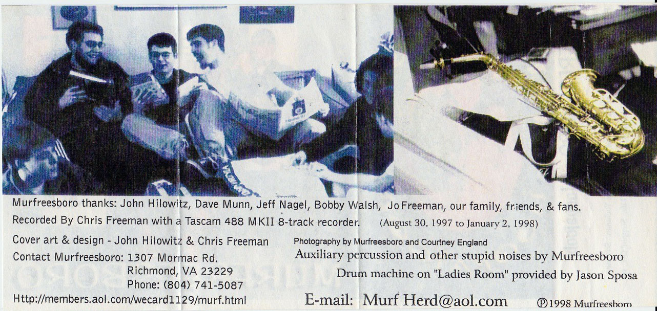 Murfreesboro: Hoopajoob, 1998, inside cover