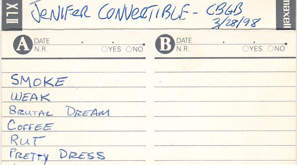 Jenifer Convertible: Live at CBGB, March 28, 1998